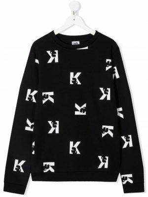 Свитер с логотипом Karl Lagerfeld Kids. Цвет: черный
