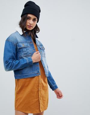 Свободная джинсовая куртка с воротником борг Wednesdays Girl-Синий Wednesday's Girl