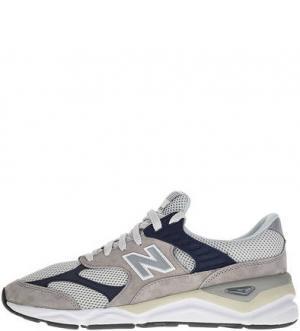 Серые текстильные кроссовки с вкладной стелькой Х-90 New Balance. Цвет: серый
