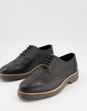 Черные кожаные броги на шнуровке с массивной подошвой -Черный цвет Ben Sherman