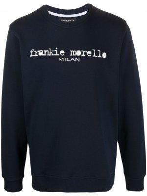 Толстовка с круглым вырезом и логотипом Frankie Morello. Цвет: синий