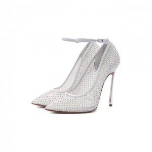 Текстильные туфли Casadei. Цвет: белый