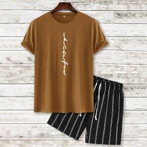 Мужская футболка с текстовым рисунком и спортивные шорты в полоску SHEIN. Цвет: многоцветный