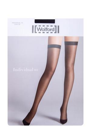 Чулки Individual 10 den черного цвета с лаконичной широкой резинкой WOLFORD. Цвет: черный