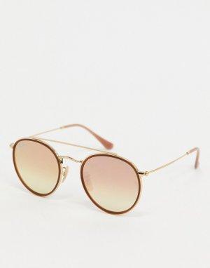 Розовые солнцезащитные очки в круглой оправе Ray-ban ORB3647N-Розовый