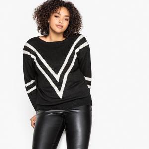 Пуловер с вырезом-лодочкой и графическим рисунком из тонкого трикотажа CASTALUNA. Цвет: темно-бежевый/зеленый,черный/ слоновая кость