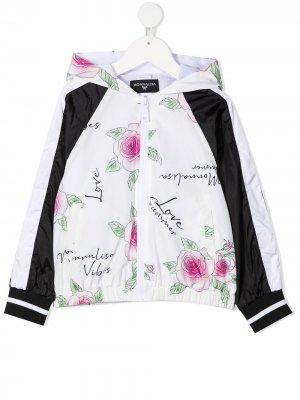 Непромокаемая куртка с принтом Monnalisa. Цвет: белый