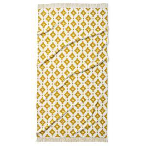 Полотенце пляжное из жаккардовой ткани IKA LA REDOUTE INTERIEURS. Цвет: насыщенно-желтый/белый,серо-синий/белый