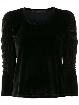Блузка с присборенными рукавами Eva. Цвет: черный