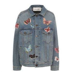 Джинсовая куртка с потертостями и отделкой в виде бабочек Valentino. Цвет: синий