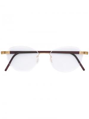 Оптические очки в овальной оправе Lindberg. Цвет: розовый и фиолетовый