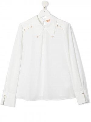 Блузка с длинными рукавами и цепочкой Elisabetta Franchi La Mia Bambina. Цвет: белый