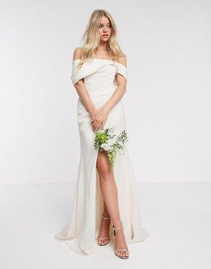 Свадебное платье со спущенными плечами и драпировкой -Кремовый ASOS EDITION