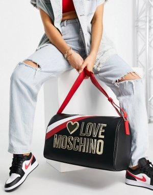 Черная дорожная сумка-тоут с большим логотипом -Черный цвет Love Moschino