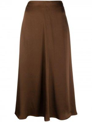 Расклешенная юбка миди Semicouture. Цвет: коричневый