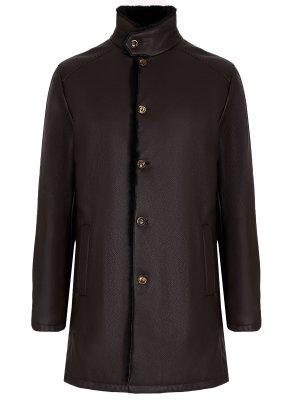 Куртка кожаная с мехом нутрии HETTABRETZ