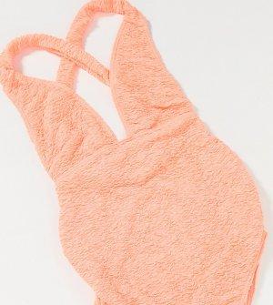 Ярко-коралловый слитный купальник с завязкой сзади ASOS DESIGN maternity-Оранжевый Maternity