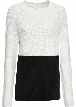 Пуловер в двухцветном дизайне bonprix. Цвет: белый
