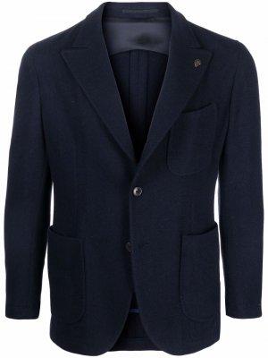 Однобортный пиджак строгого кроя Gabriele Pasini. Цвет: синий