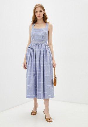 Платье Katya Erokhina Seaside Cell. Цвет: голубой