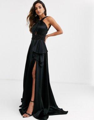 Платье-халтер с разрезом -Черный Jovani