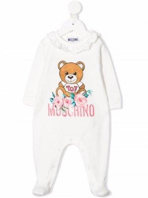 Пижама с цветочной вышивкой Moschino Kids. Цвет: белый