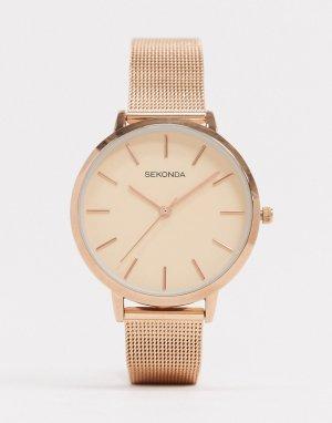 Часы цвета розового золота с сетчатым ремешком -Золотой Sekonda