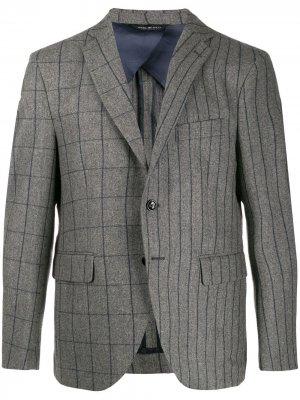 Однобортный пиджак в клетку и полоску LC23. Цвет: серый