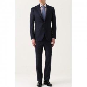 Шерстяной костюм с пиджаком на двух пуговицах Luciano Barbera. Цвет: синий