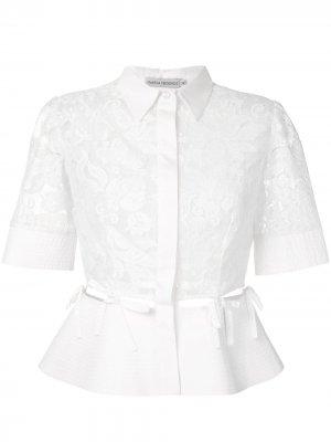 Кружевная рубашка Sophia Martha Medeiros. Цвет: белый
