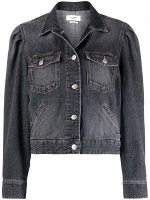 Укороченная джинсовая куртка с эффектом потертости Isabel Marant Étoile. Цвет: серый
