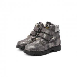 Кожаные ботинки с меховой отделкой Walkey. Цвет: серый