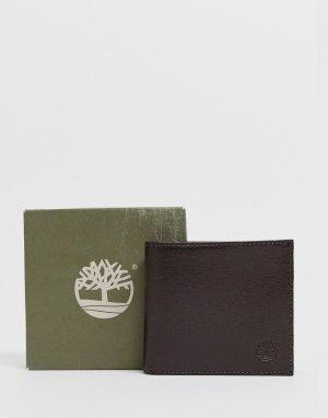 Коричневый кожаный бумажник Timberland