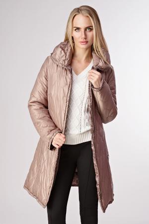 Стильное стеганное демисезонное пальто на пуху итальянское Salco. Цвет: бежевый