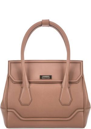 Кожаная сумка через плечо с одним отделом Modalu London. Цвет: коралловый