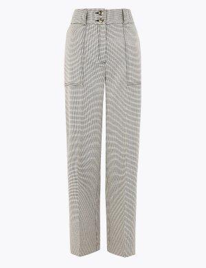 Прямые брюки Evie в клетку длиной 7/8 M&S Collection. Цвет: белый/черный