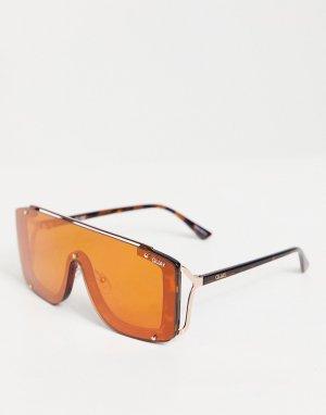 Женские солнцезащитные очки с козырьком и черепаховыми дужками Quay Hold For Applause-Коричневый цвет Australia