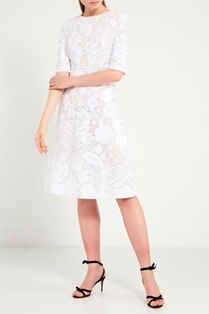 Белое жаккардовое платье Chapurin. Цвет: белый