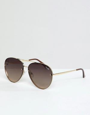 Солнцезащитные очки-авиаторы в золотистой оправе Сool Innit Quay Australia. Цвет: золотой