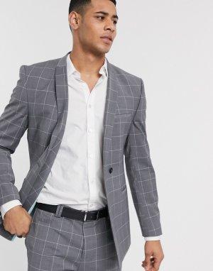 Серый пиджак в клетку из ткани с добавлением переработанной шерсти Viggo