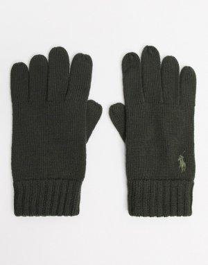 Оливковые шерстяные перчатки с логотипом -Зеленый Polo Ralph Lauren