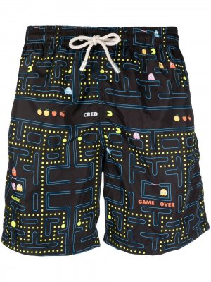 Packman-print drawstring-waist swim shorts Mc2 Saint Barth. Цвет: черный