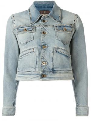 Джинсовая куртка с принтом на спине Roberto Cavalli. Цвет: синий