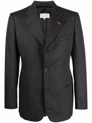 Однобортный пиджак с контрастной строчкой Maison Margiela. Цвет: серый