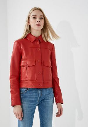 Куртка кожаная Sportmax Code. Цвет: красный