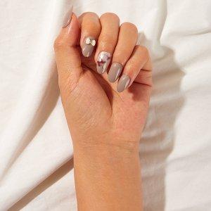 Накладные ногти с бантом 24шт SHEIN. Цвет: серые