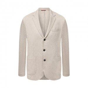 Кашемировый пиджак Brunello Cucinelli. Цвет: бежевый