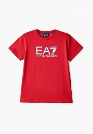 Футболка EA7. Цвет: красный