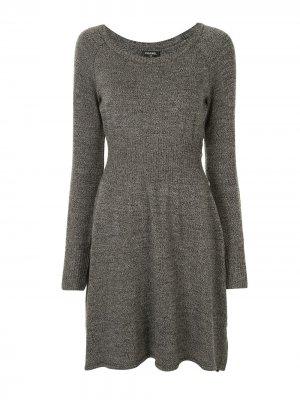 Платье тонкой вязки с длинными рукавами Chanel Pre-Owned. Цвет: серый
