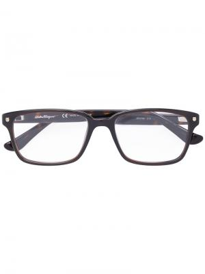 Rectangle-frame optical glasses Salvatore Ferragamo Eyewear. Цвет: чёрный